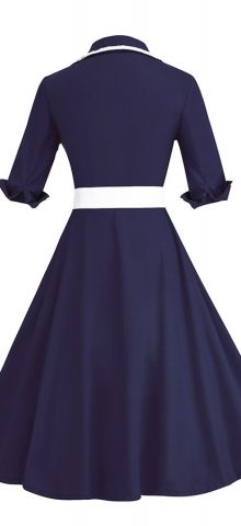 Hualong Elegant Short Sleeve Navy Blue Plus Size Belted Skater Dress