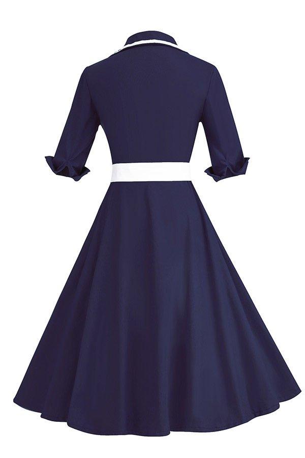 Hualong Elegant Short Sleeve Navy Blue Plus Size Belted Skater Dress