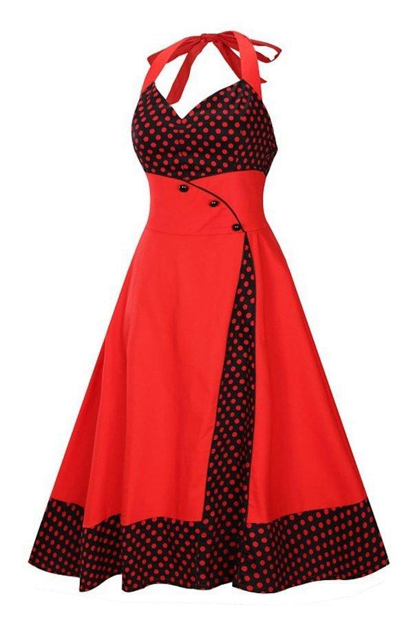 Hualong Elegant Sleeveless Plus Size Halter Skater Dress