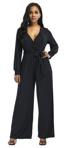 Hualong Elegant V Neck Wide Leg Black Long Sleeve Evening Jumpsuits