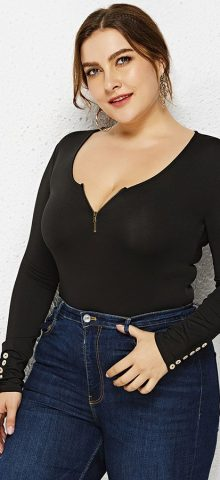 Hualong Long Sleeve Zipper Front Black Cheap Plus Size Playsuit