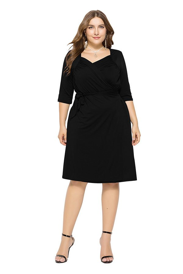 360431f7134 Plus Size Dress With Sleeves with four clors design<meta name ...