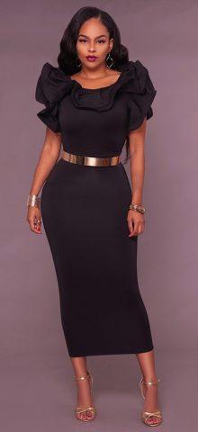 Hualong Sexy Black Flounce Sleeve Bodycon Gold Belt Long Dress