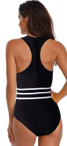 Hualong Sexy Black Mesh Front Sleeveless Bandeau One Piece Swimsuit