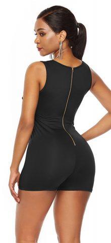 Hualong Sexy Black Zipper Back Casual Sleeveless Bodycon Romper