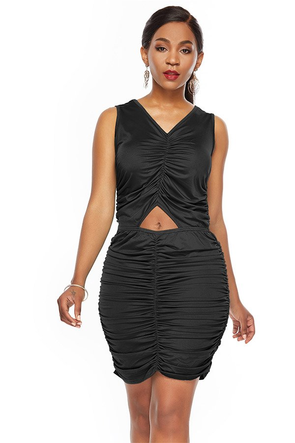 Short Pleated Dress Outfit With Sleeveless And Cut Out Design
