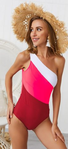Hualong Sexy Four Colors One Shoulder One Piece Swimsuits