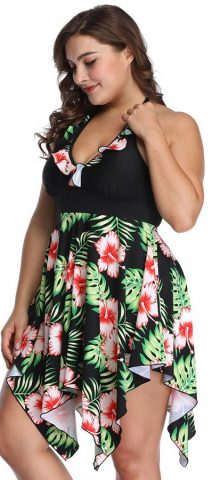 Hualong Sexy Halter Two Pieces Plus Size Floral Swimwear