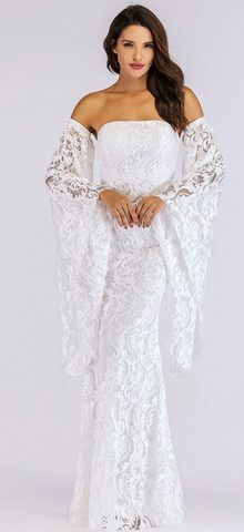 Hualong Sexy Off Shoulder Flare Sleeve White Lace Maxi Dress