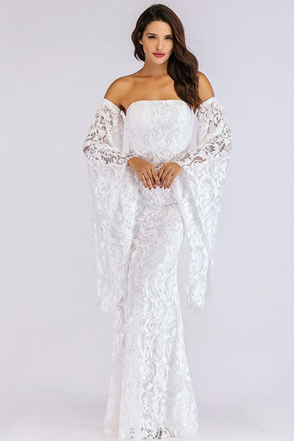 4faec7b70 White Lace Maxi Dress with off the shoulder and flare sleeve<meta ...
