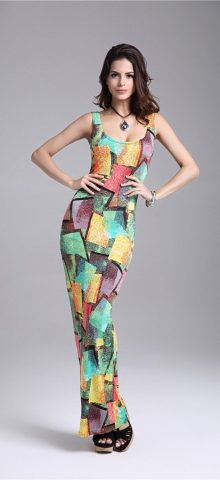 Hualong Sexy Sleeveless Bodycon Long Colorful Maxi Dresses