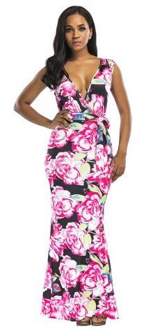 Hualong Sexy Sleeveless Foral Deep V Neck Maxi Dress
