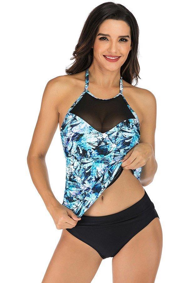 Hualong Sexy Sleeveless Halter Floral Two Piece Swimwear