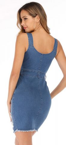 Hualong Sexy Strap V Neck Button Up Ripped Denim Midi Dress