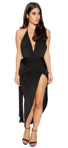 Hualong Sexy V Neck Sleeveless Black Halter Backless Cocktail Dress