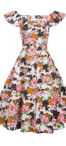 Hualong Sleeveless Boat Neck Casual Floral Skater Dress