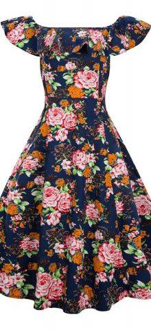 Hualong Sleeveless Boat Neck Casual Floral Skater Dress