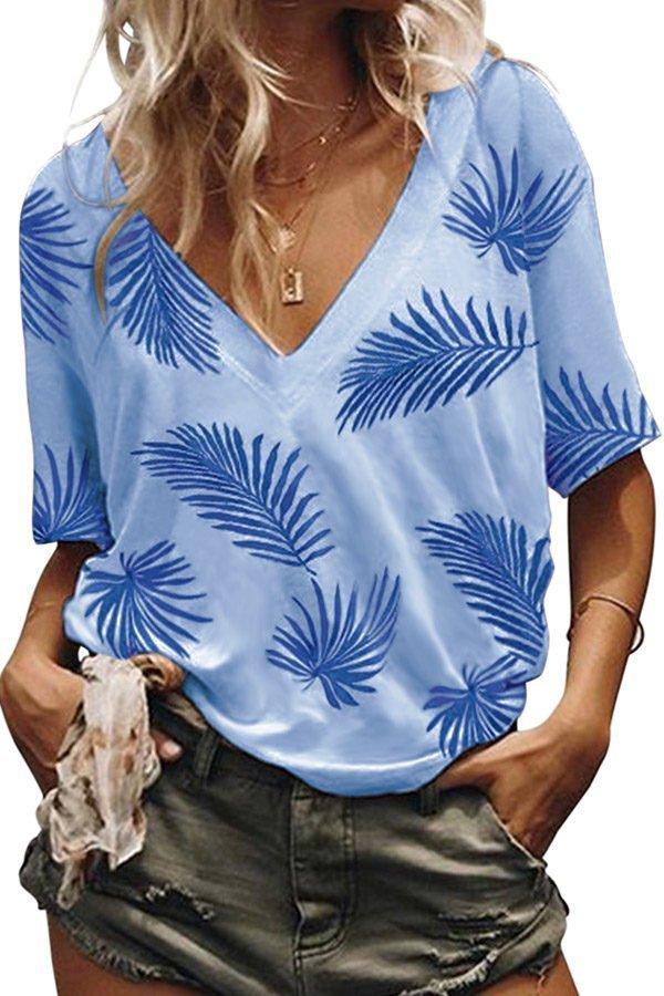 Hualong V Neck Short Sleeve Grass Women's Printed Polo Shirts