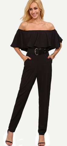 Hualong Sexy Fitted Side Pocket Black Off The Shoulder Ruffle Jumpsuit