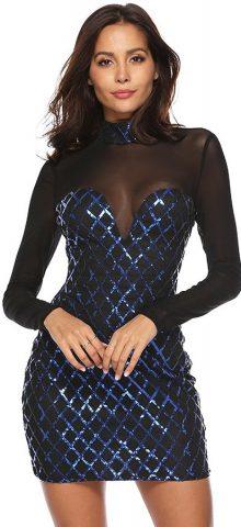 Hualong Sexy High Neck Long Sleeve Blue Glitter Mesh Dress