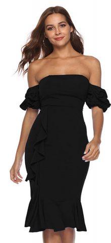 Hualong Sexy Off The Shoulder Black Strapless Summer Dress