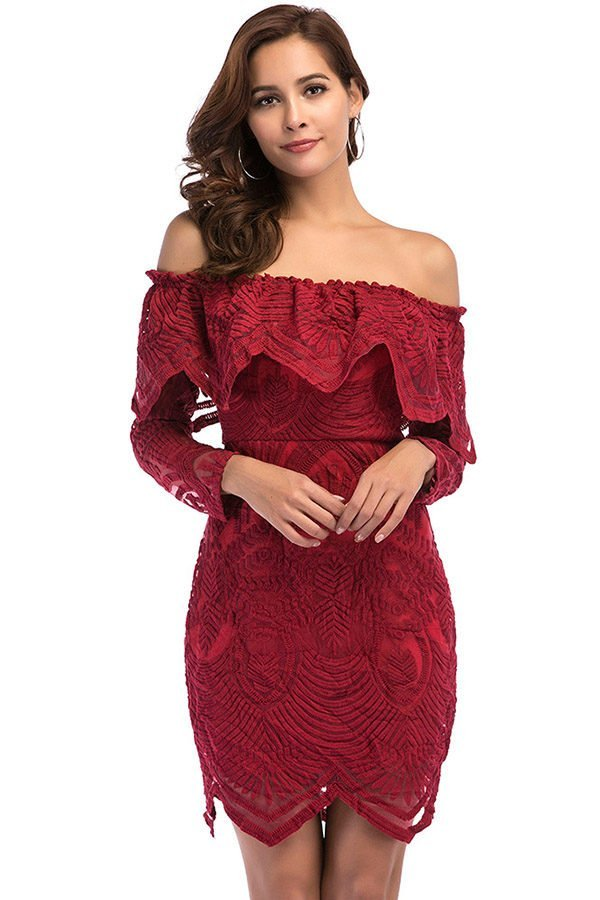Hualong Sexy Off The Shoulder Burgundy Lace Dress