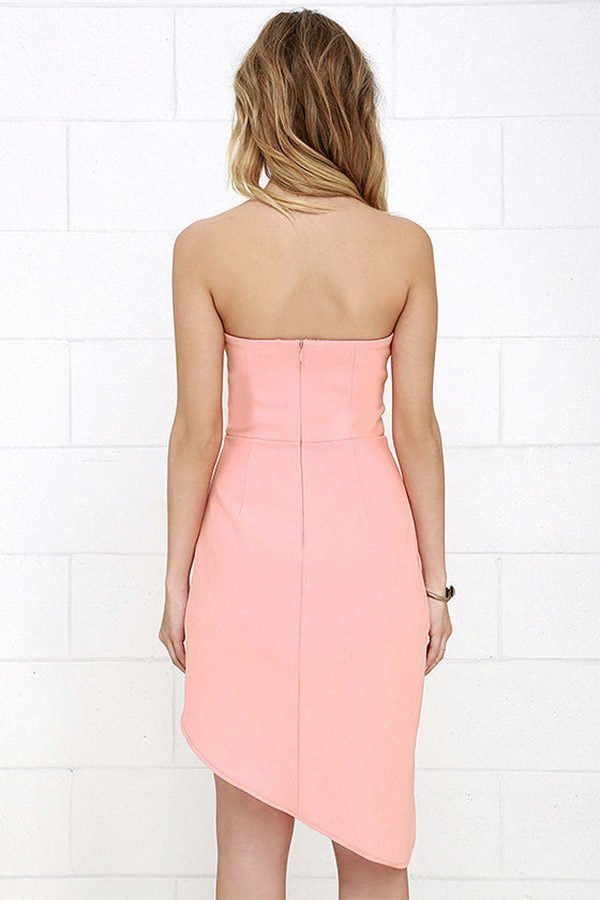 Hualong Sexy Off The Shoulder Strapless Hot Pink Romper