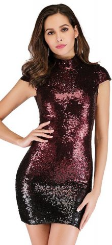 Hualong Sexy Short Sleeve Lace Up Back High Neck Sequin Dress