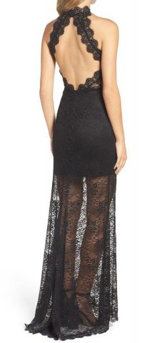 Hualong Sexy Sleeveless High Neck Black Lace Maxi Dress