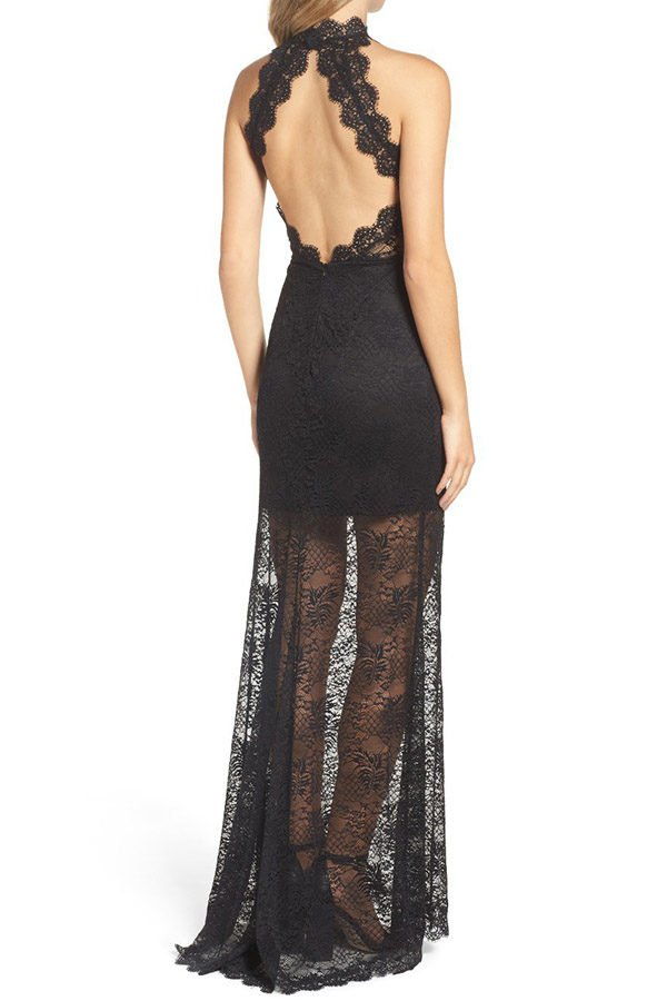 Hualong Sexy Sleeveless High Neck Black Lace Maxi Dress