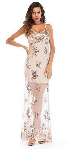 Hualong Sexy Strap Sleeveless Long Champagne Sequin Dress