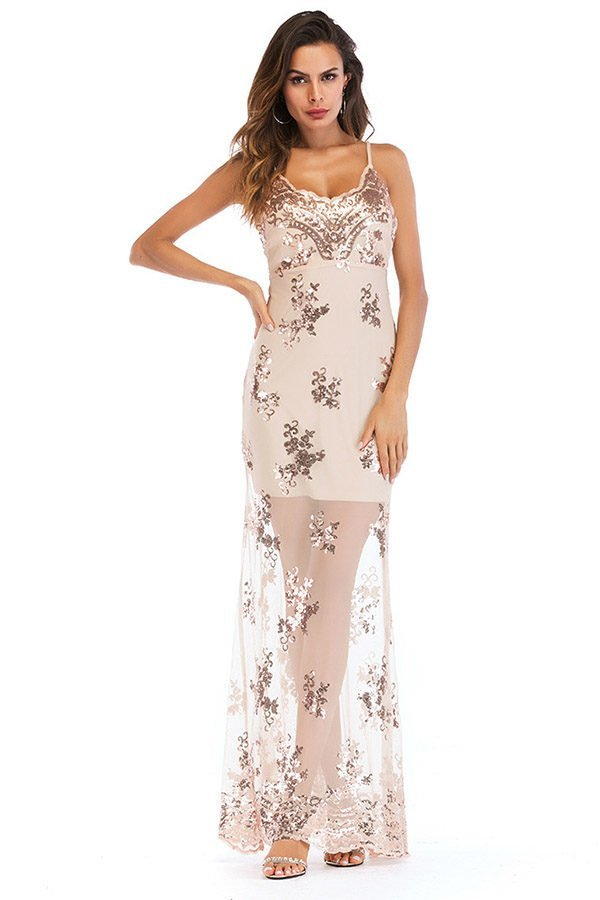 Hualong Sexy Strap Sleeveless Long Champagne Sequin Dress