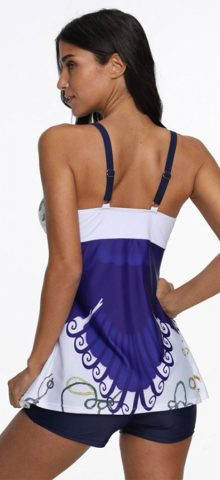 Hualong Colorful Blue Sleeveless Conservative Cute Plus Size Tankinis