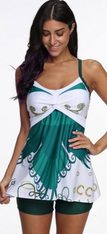 Hualong Colorful Sleeveless Conservative Green Cute Plus Size Tankinis