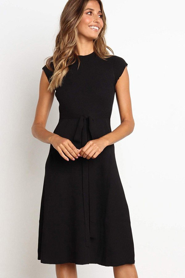 Hualong Cute Black Round Neck Short Sleeve Wrap Dress
