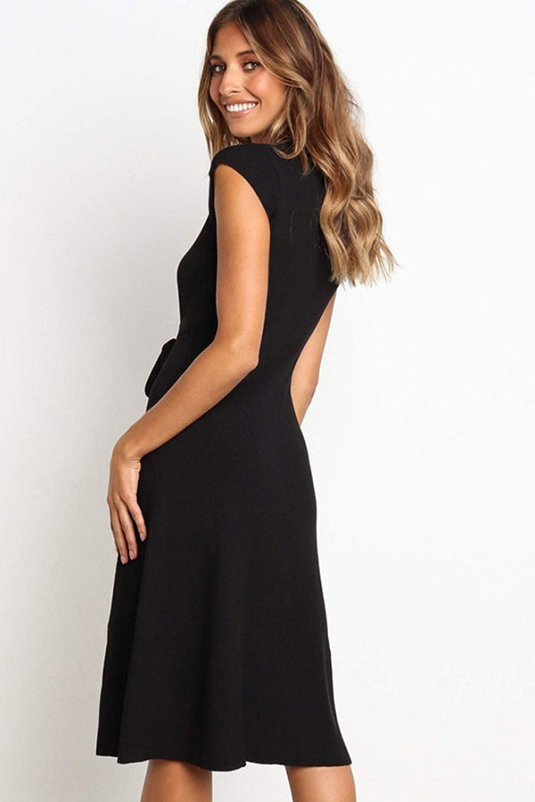 Hualong Cute Black Round Neck Short Sleeve Wrap Dress