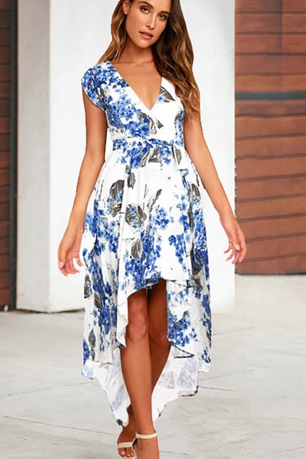 Hualong Cute Blue Short Sleeve V Neck Floral Dress