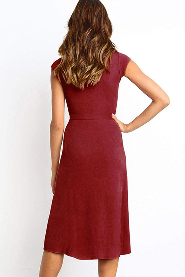 Hualong Cute Burgundy Round Neck Short Sleeve Wrap Dress