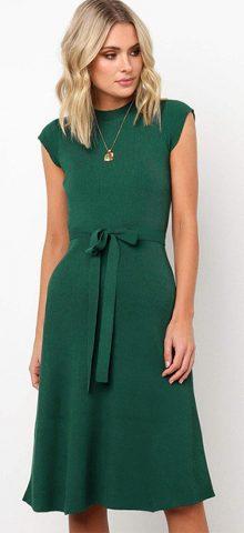 Hualong Cute Green Round Neck Short Sleeve Wrap Dress