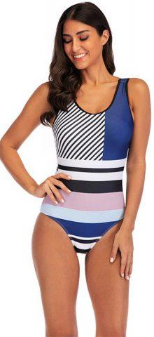 Hualong Cute Grid Sleeveless High Waisted One Piece Swimsuit