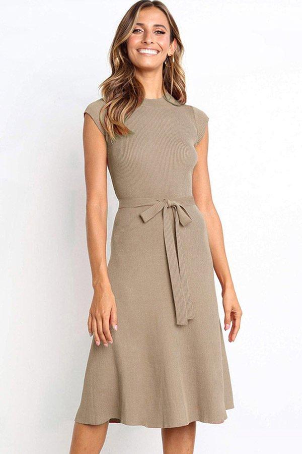 Hualong Cute Khiki Round Neck Short Sleeve Wrap Dress