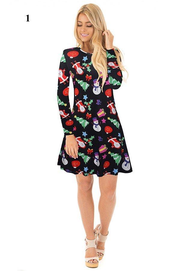 Hualong Cute Long Sleeve Short Christmas Print Dress