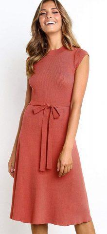 Hualong Cute Red Round Neck Short Sleeve Wrap Dress