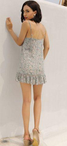 Hualong Cute Strap Sleeveless Plus Size Floral Beach Dress
