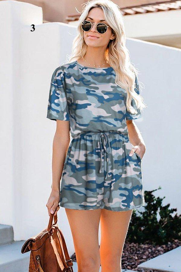 Hualong Cute Summer Round Neck Short Sleeve Camo Romper