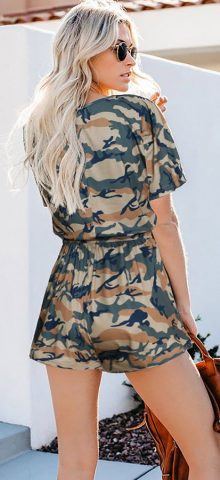 Hualong Cute Summer Round Neck Short Sleeve Camo Romper
