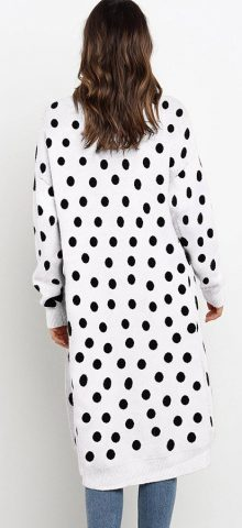 Hualong Cute Women Pocket Loose Black Dot Knitted Coat