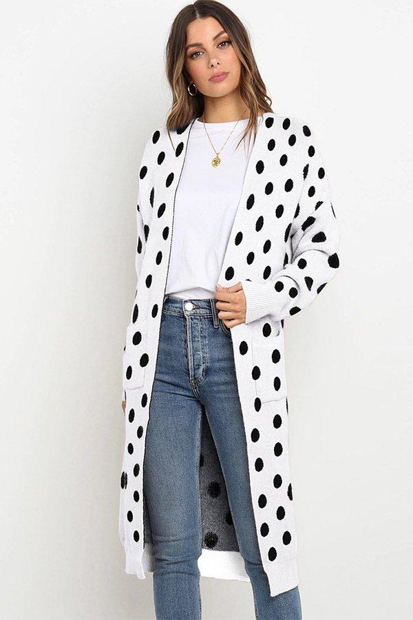 Hualong Cute Women Pocket Loose Black Dot Knitted Coat