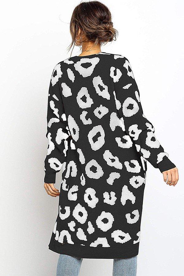Hualong Cute Women Pocket Loose Black Knitted Coat