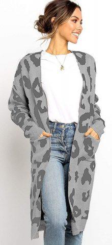Hualong Cute Women Pocket Loose Gray Knitted Coat